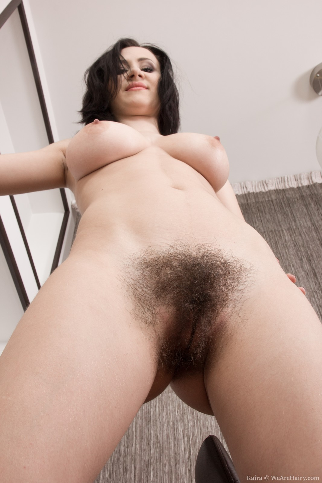 Arrested young brunette strips for old dude and show her opened pussy 4